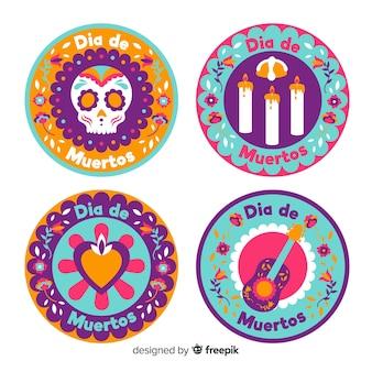 Emblemas planas redondas para coleção de dia de muertos
