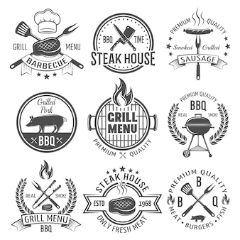 Emblemas planos de churrasco