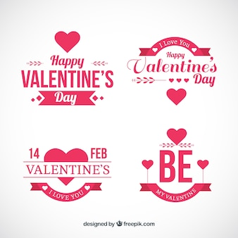 Emblemas planos para o dia dos namorados