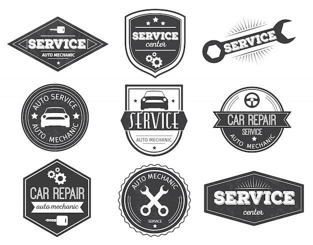 Emblemas pretos de auto serviço
