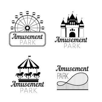 Emblemas pretos de parque de diversões