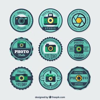 Emblemas redondos para estúdios de fotografia