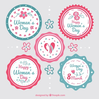 Emblemas redondos para o dia das mulheres