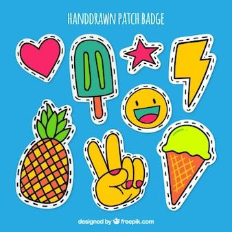 Emblemas remendo handdrawn