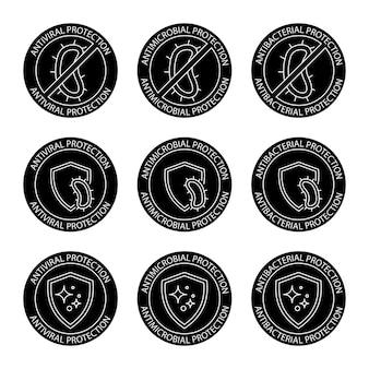 Emblemas resistentes a antimicrobianos. rótulo anti-séptico. proteção antibacteriana, antiviral e antimicrobiana, conjunto de selos redondos. etiqueta de higiene limpa do coronavirus. ícones de glifos. ilustração vetorial