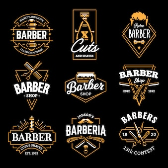 Emblemas retrô de barbearia