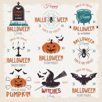 Emblemas retrô de halloween