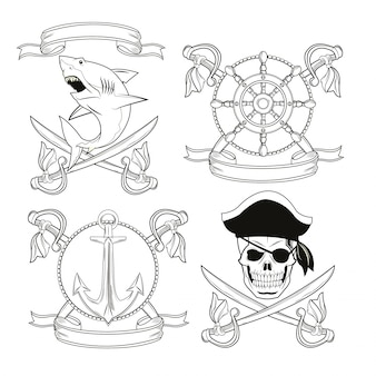 Emblemas temáticos piratas e marinhos