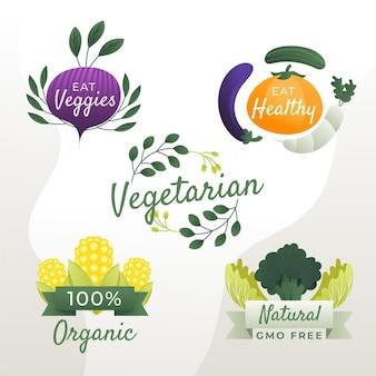 Emblemas vegetarianos gradientes