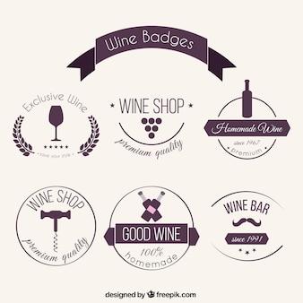Emblemas vinho bonitos desenhadas mão