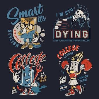 Emblemas vintage coloridos de faculdade