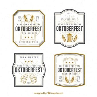 Emblemas vintage com cerveja e trigo