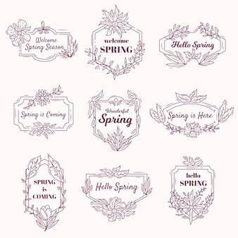 Emblemas vintage com temática de primavera