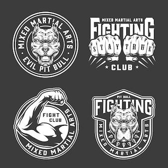 Emblemas vintage de artes marciais mistas