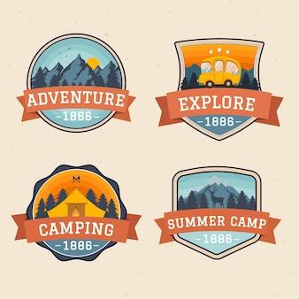 Emblemas vintage de campismo e aventuras