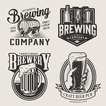 Emblemas vintage de cervejaria monocromática