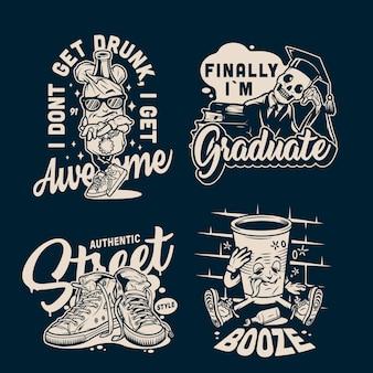 Emblemas vintage de faculdades e universidades