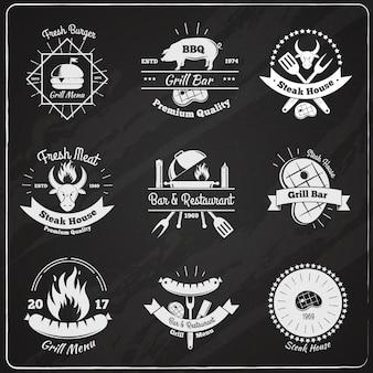 Emblemas vintage de restaurante de grelhados