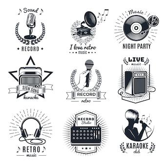 Emblemas vintage monocromáticos de elementos de karaokê