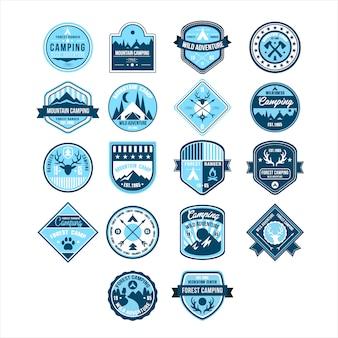 Emblemas vintage para acampamento e aventura ao ar livre,