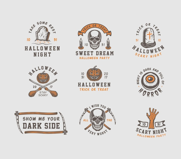 Emblemas vintage retrô de halloween
