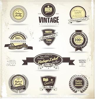 Emblemas vintage retrô e rótulos