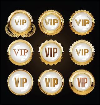 Emblemas vip dourados em preto
