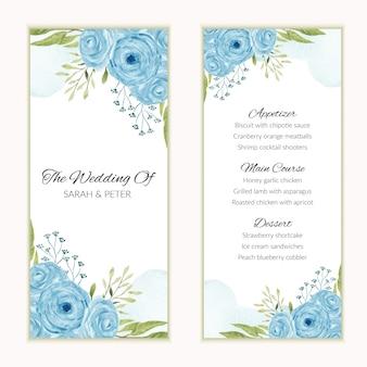 Ementa de casamento com moldura de flor rosa azul aquarela
