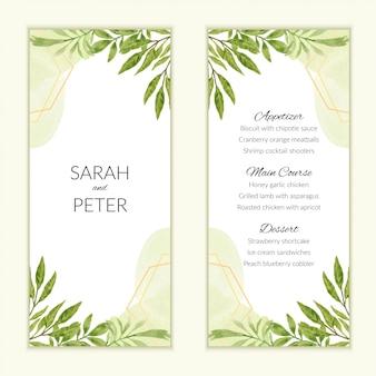 Ementa de casamento em aquarela com decoração de folhagem verde