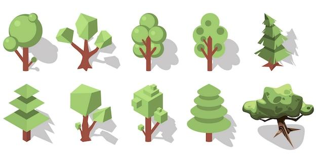 Ements de floresta isométrica 3d