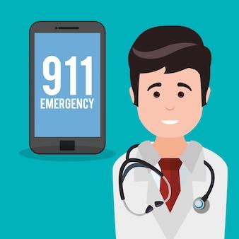 Emergência do médico smartphone 911