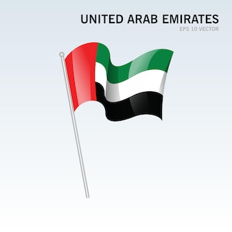 Emirados árabes unidos agitando uma bandeira isolada em cinza