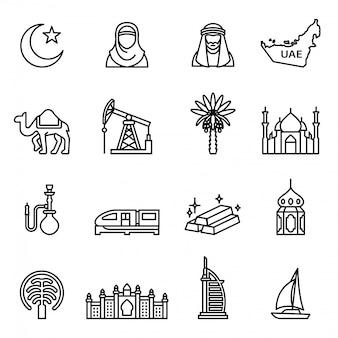 Emirados árabes unidos; ícones de dubai ajustados com fundo branco.