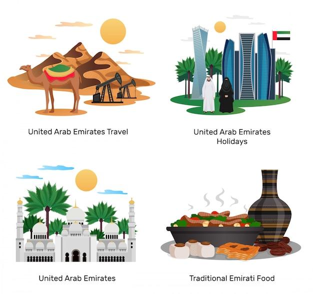Emirados árabes unidos viajar 4 composições planas com comida tradicional férias guia de turismo monumentos naturais arquitetura ilustrações isoladas