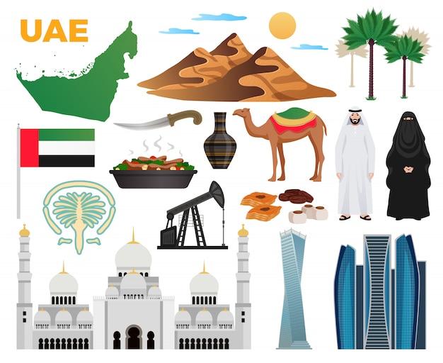 Emirados árabes unidos viajar coleção de ícones plana com marcos nacionais bandeira nacional roupas cozinha montanhas arquitetura moderna mesquita ilustração