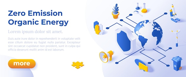 Emissão zero e energia orgânica - projeto isométrico em ícones isométricos de cores da moda no fundo azul. modelo de layout de banner para desenvolvimento de site