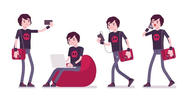 Emo boy com diferentes gadgets