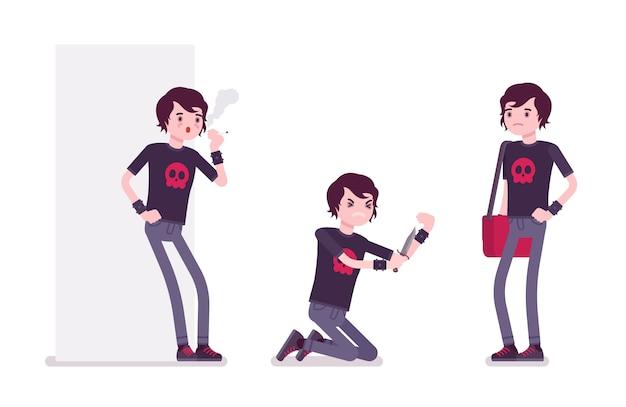 Emo boy em diferentes situações