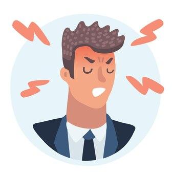 Emoção avatar homem bravo sucesso