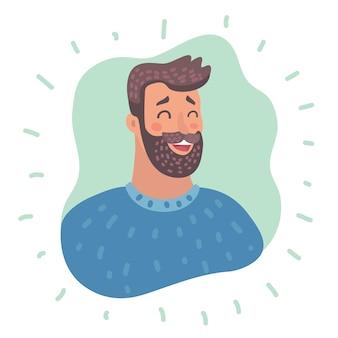Emoção avatar homem feliz rosto de sucesso