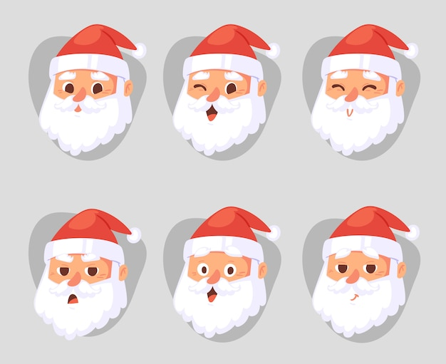 Emoção de cabeça de papai noel de natal enfrenta expressão personagem poses ilustração emojji xmas homem em traje tradicional vermelho e chapéu de papai noel