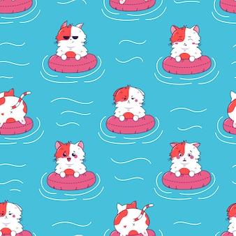Emoção diferente de gato bonito na borracha ringon água azul do mar kawaii padrão sem emenda