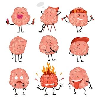 Emoção do personagem do cérebro. personagens cerebrais fazendo exercícios esportivos e atividades diferentes