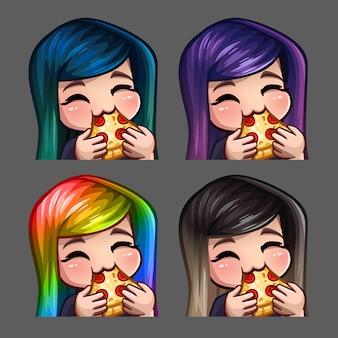 Emoção ícones feliz fêmea comem pizza com cabelos compridos para redes sociais e adesivos
