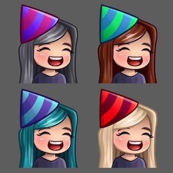 Emoção ícones feliz festa feminino com cabelos compridos para redes sociais e adesivos