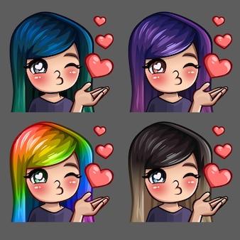 Emoção ícones felizes beijos femininos com cabelos compridos para redes sociais e adesivos
