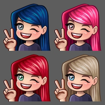 Emoção, oi ícones sorriam feminino com cabelos compridos para redes sociais e adesivos