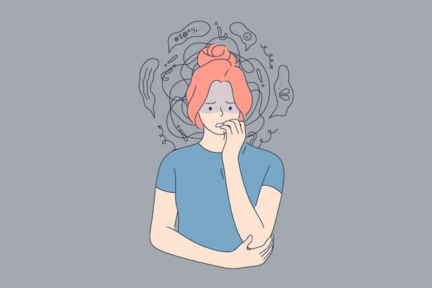 Emoção, rosto, expressão, frustração, pânico, ataque, mental, estresse, ansiedade, conceito