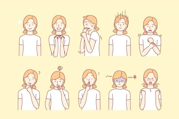 Emoções de childs e conjunto de expressões faciais