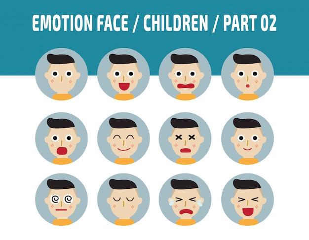 Emoções de crianças sentimentos de cara de avatar.